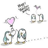 De valentijnskaart van pinguïnen Stock Foto