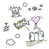 De valentijnskaart van pinguïnen Stock Afbeelding