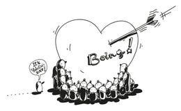 De valentijnskaart van pinguïnen Royalty-vrije Stock Afbeelding