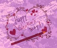 De valentijnskaartachtergrond van krabbels Stock Afbeelding