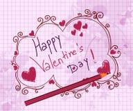 De valentijnskaartachtergrond van krabbels Royalty-vrije Stock Foto's