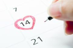 De valentijnskaartdag van de kalender. Stock Afbeelding