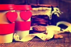 De valentijnskaartdag van de paarkoffie Royalty-vrije Stock Foto