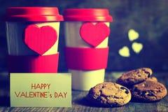De valentijnskaartdag van de paarkoffie Royalty-vrije Stock Foto's