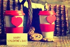 De valentijnskaartdag van de paarkoffie Stock Afbeelding