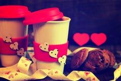 De valentijnskaartdag van de paarkoffie Royalty-vrije Stock Afbeeldingen