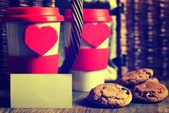 De valentijnskaartdag van de paarkoffie Stock Fotografie