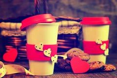 De valentijnskaartdag van de paarkoffie Stock Foto
