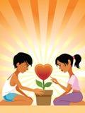 De valentijnskaarten bloeien Stock Illustratie