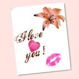 De valentijnskaarten houden van met hart en bloem Royalty-vrije Stock Afbeelding