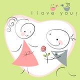 De valentijnskaarten koppelen, namen de vrouwen en de mannen met toe stock illustratie