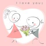 De valentijnskaarten koppelen, vrouwen en mannen aan bloemen Stock Fotografie