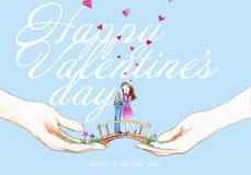 De valentijnskaarten kussen paar Stock Afbeeldingen