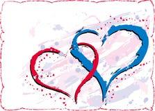 De valentijnskaartenachtergrond van Grunge met harten, vector stock illustratie