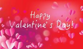 De valentijnskaartendag, Romantische rozerode de kleurenachtergrond van liefdesymbolen, vage hartvormen, nam bloemblaadjes, boke  Royalty-vrije Stock Afbeeldingen