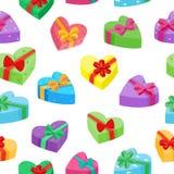 De valentijnskaartendagen stelt inzameling voor Vector naadloos patroon van beeldverhaalgiften Royalty-vrije Stock Foto