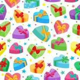 De valentijnskaartendagen stelt inzameling voor Vector naadloos patroon van beeldverhaalgiften Stock Afbeeldingen