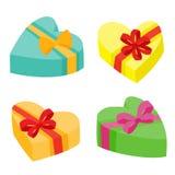 De valentijnskaartendagen stelt inzameling voor Vectorillustratie van beeldverhaalgiften Stock Afbeelding