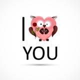 De valentijnskaartenuil houdt van u kaardt. Stock Foto's