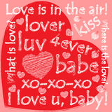 De valentijnskaarthart van Grunge met krabbels Royalty-vrije Stock Afbeeldingen