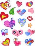 De valentijnskaartharten van de liefde royalty-vrije illustratie