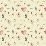 De valentijnskaartpatroon van het huid cozzy beeldverhaal Stock Afbeelding