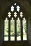 De Valle Crucis Abdij van Wales, a-venster in sillouette stock afbeeldingen