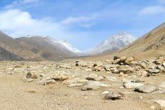 De vallei van de berg in het Himalayagebergte Stock Afbeeldingen