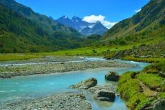 De vallei van de Kaukasus Stock Afbeeldingen