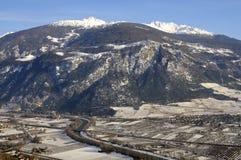 De vallei van de Rhône dichtbij Sierre Stock Foto