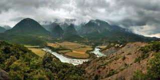 De Vallei van de Vjosarivier, Albanië Royalty-vrije Stock Afbeelding