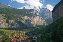 De Vallei van Lauterbrunnen in Zwitserland royalty-vrije stock foto
