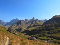 De Vallei van de Mlambonjarivier, het Nationale Park van uKhahlambadrakensberg Royalty-vrije Stock Fotografie