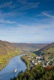 De Vallei van Moezel dichtbij Cochem, Duitsland stock foto's