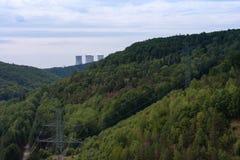 De vallei van rivier Jihlava, kernenergieinstallatie Dukovany is in Royalty-vrije Stock Afbeeldingen