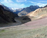 De vallei van Spiti in de Himalayan bergen, India Stock Foto