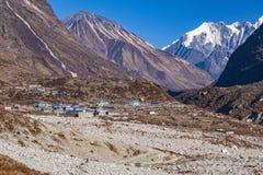 De valleidorp van Nepal Langtang royalty-vrije stock afbeelding