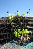 De vallen en de boeien van de zeekreeft Stock Foto