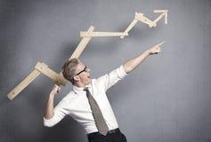 De vallend ster van de zakenman. Stock Fotografie