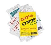 De valse Knipsels van de Coupon met Paperclip Royalty-vrije Stock Afbeeldingen