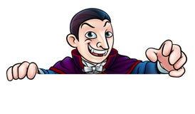 De Vampier die van beeldverhaalhalloween over Teken gluren Royalty-vrije Stock Afbeelding