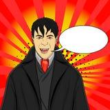 De vampier van de pop-artmens in een kostuum op een rode achtergrond imitatie grappige stijl, vectortekstbel Stock Foto