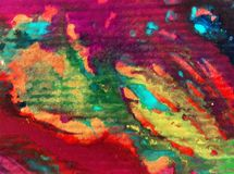 De van de achtergrond waterverfkunst abstracte patroon textiel kleurrijke geweven violette groene vlekken bevlekken romantische o Royalty-vrije Stock Foto's