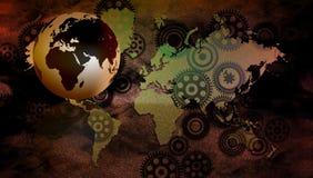 De van de bedrijfs wereldtechnologie Banner vervalst Achtergrond De verbonden Bol Google van de Technologiewereld Vector illustra stock illustratie