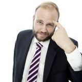 De van de bedrijfs baard mens zegt dat iets gek is royalty-vrije stock fotografie