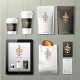 De van de de winkel collectieve identiteit van de ankerskoffie reeks van het het malplaatjeontwerp Stock Foto's