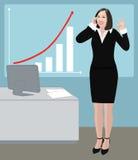 De van het bedrijfs succes vrouw toont o.k. teken Royalty-vrije Stock Afbeelding