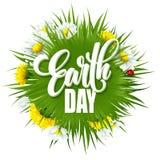 De Van letters voorziende affiche van de aardedag met titel Groene bolplaneet met gras en bloemen Vector illustratie Royalty-vrije Stock Foto