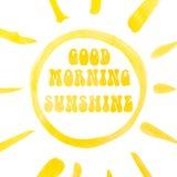 De van letters voorziende affiche van de goedemorgenzonneschijn, abstracte zonneschijn, waterverf met het knippen van masker Royalty-vrije Stock Fotografie
