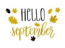 De van letters voorziende tekst van Hello september met de herfstbladeren en eikels Hand getrokken illustratie Stock Afbeeldingen